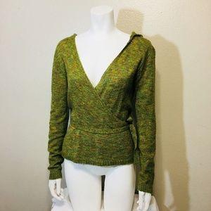 Twentyone Hooded Sweater Small Moss Green Wrap